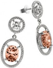 Diamonfire – Orecchini pendenti in argento Sterling 925, con zirconi Fancy Colours linea arancione 62/1578/1/133