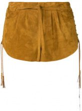 Saint Laurent - Shorts con lacci laterali - women - Lamb Nubuck Leather/Silk - 34 - BROWN