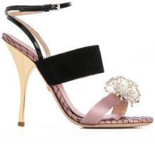 Giambattista Valli - Sandali con applicazione - women - Leather/Silk/Suede/glass - 37.5, 38, 38.5, 39, 39.5, 40, 41 - Rosa & viola