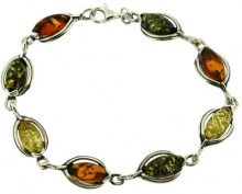 Nova Silver-Bracciale in ambra classica e ambra mista, lunghezza 29 cm