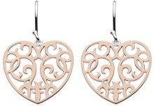 Dew - Orecchini pendenti a forma di cuore in argento Sterling, placcatura in oro rosa