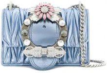 Miu Miu - matelassé crystal buckle shoulder bag - women - Leather - One Size - Blu