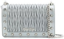 Miu Miu - matelassé chain shoulder bag - women - Leather - OS - METALLIC
