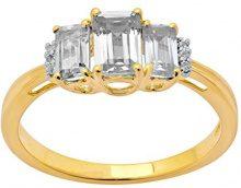 Jewelili Donna 9 carati oro giallo smeraldo bianco Topazio FASHIONRING