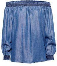 ESPRIT 048ee1f021, Camicia Donna, Blu (Dark Blue 405), 46 (Taglia Produttore: 40)