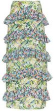 All Things Mochi - Sara floral print tiered ruffle maxi skirt - women - Viscose/Cotone/Polyester - XS, S, M, L - GREEN