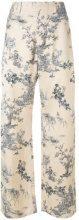 Ermanno Gallamini - printed style flared trousers - women - Silk - S - NUDE & NEUTRALS