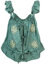 Innika Choo - embroidered floral top - women - Linen/Flax - OS - Verde