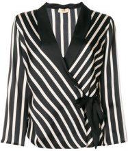 Liu Jo - striped print fitted jacket - women - Polyester - 40, 42, 44, 46 - Nero