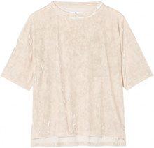 FIND T-Shirt in Velour Donna, Beige (Almond), 42 (Taglia Produttore: Small)