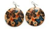 Idin Jewellery-Orecchini pendenti in legno, con orecchini a goccia, motivo: farfalle, colore: Blu e arancio