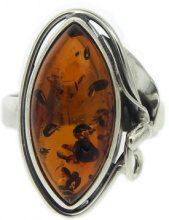 Nova Silver - Anello da donna con ambra, argento sterling 925, 14, cod. P/R412/C