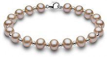 Kimura Pearls Donna 9 carati oro bianco Rotonda Semisferica perla cinesa da coltivazione rosa Perla FINENECKLACEBRACELETANKLET