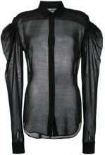 Saint Laurent - sheer drop puff sleeve shirt - women - Polyamide/Lana Vergine/Polyester - 38, 40 - Nero