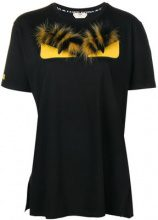 Fendi - Bag Bugs T-shirt - women - Cotone/Fox Fur/Lamb Skin/Polyester - S, L - Nero