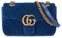 Gucci - Blue GG Marmont Mini Velvet Bag - women - Velvet/Silk - One Size - Blu