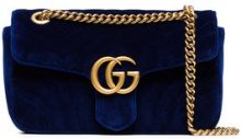 Gucci - blue Marmont small quilted velvet shoulder bag - women - Velvet/Leather - One Size - BLUE