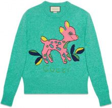 Gucci - Wool sweater with fawn - women - Wool - XS, S, M, L - Blu