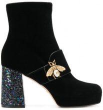 Gucci - Stivaletti con decorazione ape e tacco dettaglio glitter - women - Velvet/PVC/Leather - 37, 36, 41 - Nero