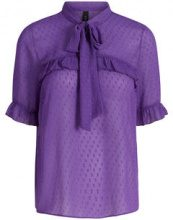 Y.A.S Tie String Short Sleeved Shirt Women Purple