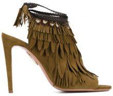 Aquazzura - 'Pocahontas' sandals - women - Leather/Suede/Feather - 40, 37, 39 - GREEN