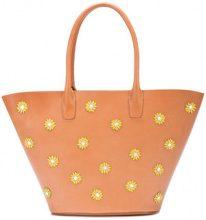 Mansur Gavriel - floral embellished triangle tote bag - women - Leather/Lamb Skin - OS - Marrone
