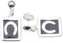 Adara-Collana in argento Sterling, smaltato, a forma di goccia e orecchini, motivo: ferro di cavallo