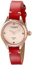 Akribos XXIV da donna in oro rosa con orologio al quarzo con Display analogico e cinturino in pelle, AK750RD, colore: rosso