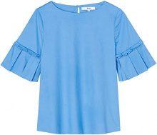 FIND Frill Sleeve Camicia Donna, Blu (Marine Blue), 44 (Taglia Produttore: Medium)