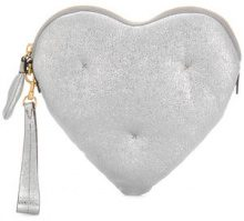 Anya Hindmarch - Chubby Heart clutch bag - women - Lamb Skin - One Size - METALLIC