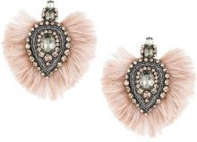Tory Burch - embellished feather trim earrings - women - Suede/Ostrich Feather/glass/metal - OS - Rosa & viola