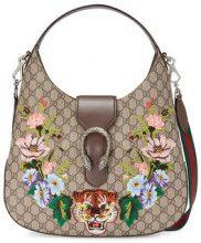Gucci - borsa hobo media 'Dionysus' ricamata 'GG Supreme' - women - Canvas/Leather/metal/Cotone - One Size - NUDE & NEUTRALS