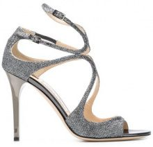 Jimmy Choo - Sandali 'Lang 100' - women - Leather/Metallic Fibre - 35, 36, 36.5, 37, 38.5, 39, 40, 41 - METALLIC