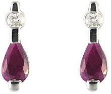 Ivy Gems-Pendente in oro bianco 9 kt con diamante e rubino, orecchini