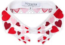 Vivetta - heart embroidered collar - women - Cotone/Polyester/Spandex/Elastane/Viscose - I - Rosso