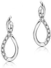 Miore Orecchini Donna Pendenti Diamanti taglio Brillante ct 0.06 Oro Bianco 9 Kt/375