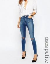 ASOS PETITE - Ridley - Jeans skinny lavaggio grigio pietra medio Darmera con strappi alle ginocchia