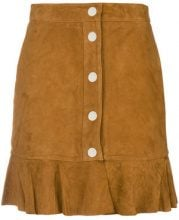 - Ganni - Salvia ruffle mini skirt - women - Polyester/Goat Suede - 34, 36, 38 - Marrone