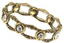 1928 Jewelry - Braccialetto elastico con lavorazione aperta e cristalli, 17 cm, colore: Oro