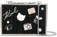 - Karl Lagerfeld - tweed Minaudiere clutch - women - Zinc/Polyamide - Taglia Unica - Nero