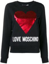 Love Moschino - logo heart print sweatshirt - women - Cotone/Spandex/Elastane - 38, 40, 42, 44 - Nero