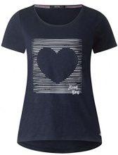 Cecil 312270, T-Shirt Donna, Blu (Powder Blue 21389), L