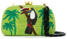 Serpui - embroidered clutch - women - Raffia - OS - Verde