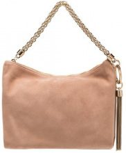 Jimmy Choo - ballet pink Callie suede clutch with chain - women - Suede - OS - Color carne & neutri