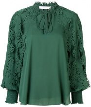 See By Chloé - laser-cut floral blouse - women - Viscose/Polyester - 38, 40, 42, 34, 36 - GREEN
