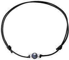 Pearls & Colors PC-CMC3 - Collana girocollo, in argento 925, perle d'acqua dolce, 35 cm, Argento, colore: nero, cod. PC-CMC29