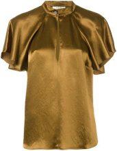 Lanvin - short-sleeved blouse - women - Acetate - 36 - Marrone