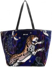 Just Cavalli - printed tote - women - Cotone/Calf Leather - OS - BLUE