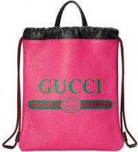 Gucci - Gucci Print small drawstring backpack - women - Leather - OS - Rosa & viola