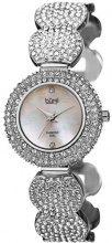 Burgi'Svizzera, da donna, al quarzo, con madreperla, a forma di orologio, con zircone, argento, con orologio